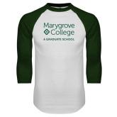 White/Dark Green Raglan Baseball T Shirt-Graduate School
