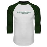 White/Dark Green Raglan Baseball T Shirt-Graduate School Wordmark