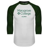 White/Dark Green Raglan Baseball T Shirt-Alumni