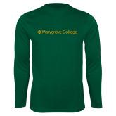 Performance Dark Green Longsleeve Shirt-Wordmark