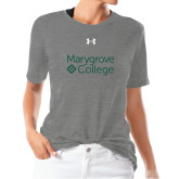 Ladies Under Armour Heather Grey Triblend Tee-Primary Mark