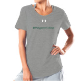 Ladies Under Armour Grey Charged Cotton Tee-Wordmark