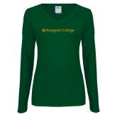Ladies Dark Green Long Sleeve V Neck Tee-Wordmark