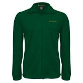 Fleece Full Zip Dark Green Jacket-Wordmark