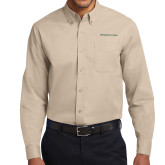 Khaki Twill Button Down Long Sleeve-Wordmark