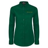 Ladies Dark Green Twill Button Down Long Sleeve-Wordmark