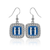 Crystal Studded Square Pendant Silver Dangle Earrings-MHS Logo