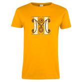 Ladies Gold T Shirt-MHS Logo Distressed