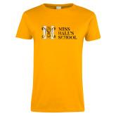 Ladies Gold T Shirt-MHS Horizontal Distressed