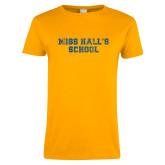Ladies Gold T Shirt-Miss Halls School Distressed
