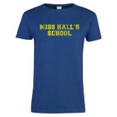 Ladies Royal T Shirt-Miss Halls School Distressed