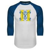 White/Royal Raglan Baseball T Shirt-MHS Logo