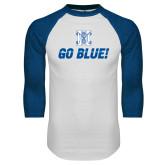 White/Royal Raglan Baseball T Shirt-Go Blue