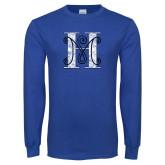 Royal Long Sleeve T Shirt-MHS Logo Distressed