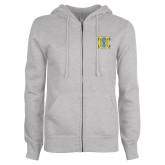 ENZA Ladies Grey Fleece Full Zip Hoodie-MHS Logo