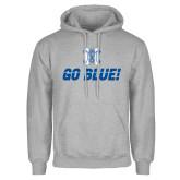 Grey Fleece Hoodie-Go Blue