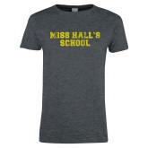 Ladies Dark Heather T Shirt-Miss Halls School Distressed