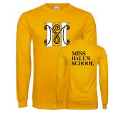Gold Long Sleeve T Shirt-MHS Logo