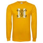 Gold Long Sleeve T Shirt-MHS Logo Distressed