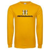 Gold Long Sleeve T Shirt-Hashtag MHS Authenticity