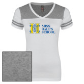 Ladies White/Heathered Grey Juniors Varsity V Neck Tee-MHS Horizontal