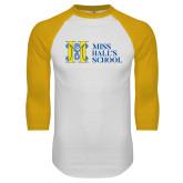 White/Gold Raglan Baseball T Shirt-MHS Horizontal