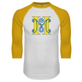 White/Gold Raglan Baseball T Shirt-MHS Logo