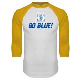 White/Gold Raglan Baseball T Shirt-Go Blue