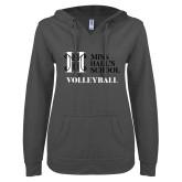 ENZA Ladies Dark Heather V Notch Raw Edge Fleece Hoodie-Volleyball