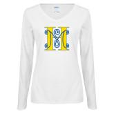 Ladies White Long Sleeve V Neck Tee-MHS Logo