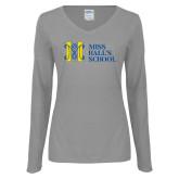 Ladies Grey Long Sleeve V Neck Tee-MHS Horizontal