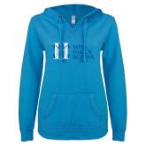 ENZA Ladies Pacific Blue V Notch Raw Edge Fleece Hoodie-MHS Horizontal