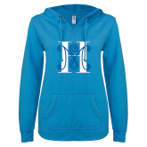 ENZA Ladies Pacific Blue V Notch Raw Edge Fleece Hoodie-MHS Logo