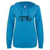 ENZA Ladies Pacific Blue V Notch Raw Edge Fleece Hoodie-MHS Bus