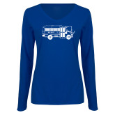 Ladies Royal Long Sleeve V Neck Tee-MHS Bus