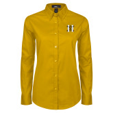 Ladies Gold Twill Button Down Long Sleeve-MHS Logo