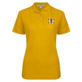 Ladies Easycare Gold Pique Polo-MHS Logo