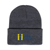 Grey Knit Beanie w/Cuff-MHS Horizontal