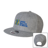 Heather Grey Wool Blend Flat Bill Snapback Hat-MHS Horizontal