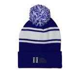 Royal/White Two Tone Knit Pom Beanie w/Cuff-MHS Horizontal