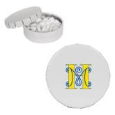 White Round Peppermint Clicker Tin-MHS Logo