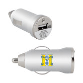 On the Go Silver Car Charger-MHS Logo