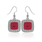 Crystal Studded Square Pendant Silver Dangle Earrings-M Icon