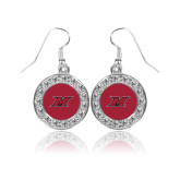 Crystal Studded Round Pendant Silver Dangle Earrings-M Icon