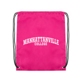 Pink Drawstring Backpack-Manhattanville College Arched