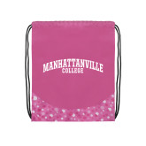 Nylon Pink Bubble Patterned Drawstring Backpack-Manhattanville College Arched