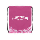 Nylon Zebra Pink/White Patterned Drawstring Backpack-Manhattanville College Arched