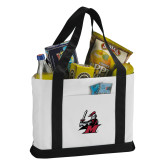 Contender White/Black Canvas Tote-M with Knight