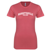 Next Level Ladies SoftStyle Junior Fitted Pink Tee-Manhattanville College Arched