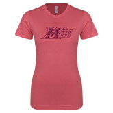 Next Level Ladies SoftStyle Junior Fitted Pink Tee-Primary Mark Hot Pink Glitter